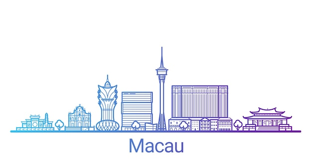Macau city colored gradient line