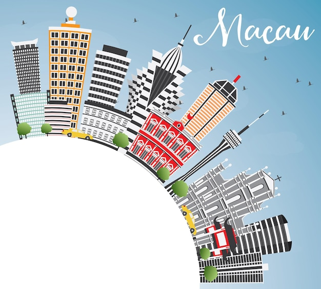 Macau skyline with gray buildings. blue sky and copy space. vector illustration. business travel and tourism concept with modern architecture. image for presentation banner placard and web site.