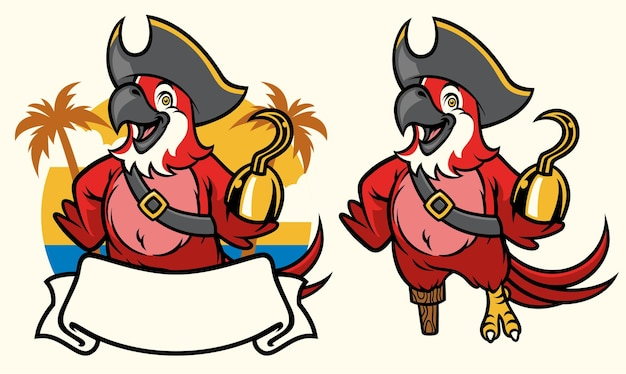 Macaw bird pirate cartoon