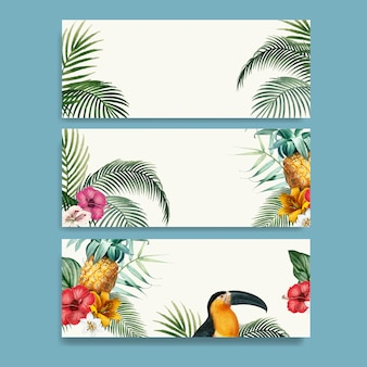 Macaw foliage mockup collection