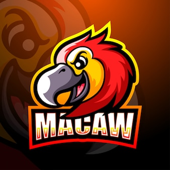 Macaw mascot esport illustration