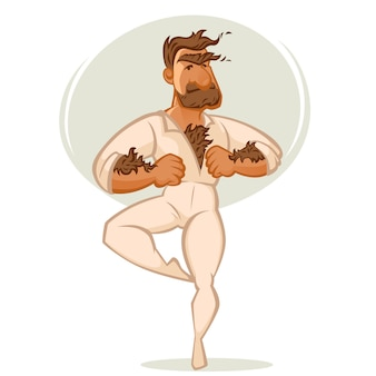 Mach ballet danser,  cartoon man portrait