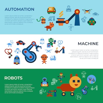 Machine automation and artificial intelligence robots icons collection
