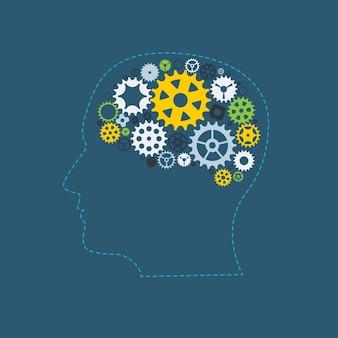 기계 기어 휠 cogwheel 인간의 두뇌 개념입니다. 벡터 일러스트레이션