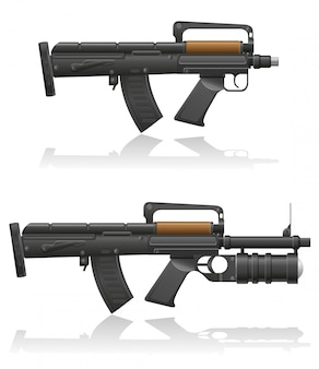 짧은 총신과 수류탄 발사기가있는 기관총.