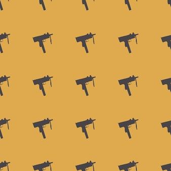 흰색 바탕에 기관총 패턴 패턴입니다. 창의적이고 군사적인 스타일의 일러스트레이션