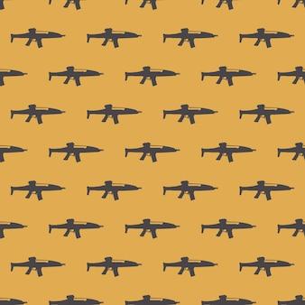 흰색 바탕에 기관총 패턴 패턴입니다. 창의적이고 군사적인 스타일의 일러스트레이션 프리미엄 벡터