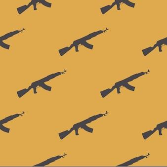 Узор из пулеметов на белом фоне. креативная иллюстрация в стиле милитари