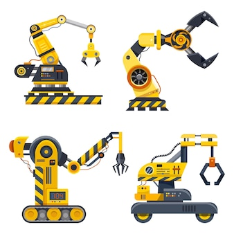 Machine hands, set of industry  . robot arms with grab claw hands, robotic engineering and automated manufacturing, industrial technology and hydraulic machinery