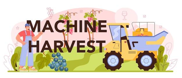 기계 수확 인쇄 상의 헤더입니다. 와인 생산. 포도 선택, 재배 및 수확. 알코올 음료 특성. 병이나 유리에 포도 와인. 평면 벡터 일러스트 레이 션