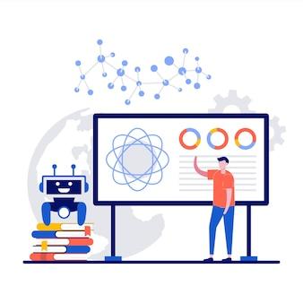フラットデザインでロボットに講義を行う教師と機械学習人工知能コンピュータサイエンス