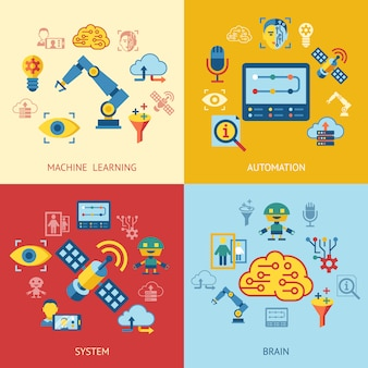 Machine learning and artificial intelligence icons collection