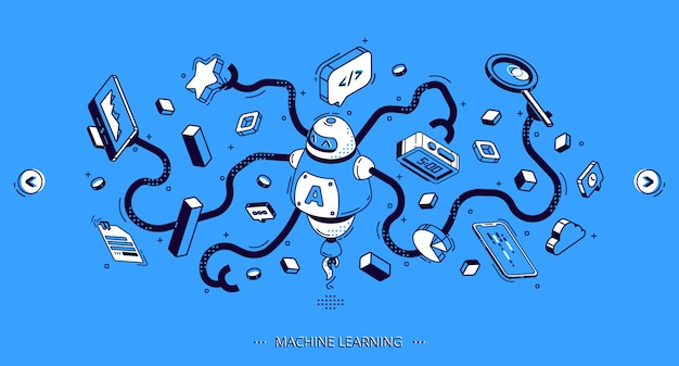 Machine learning banner, artificial intelligence