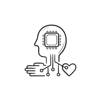 칩이 있는 기계 학습 두뇌, 신경망 손으로 그린 윤곽선 낙서 아이콘. 마이크로칩 자동화 개념