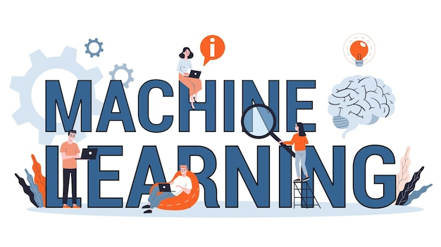 기계 학습 개념. 인공 지능은 새로운 알고리즘을 학습하고 개선합니다. 미래 기술과 자동화에 대한 아이디어. 스타일 일러스트