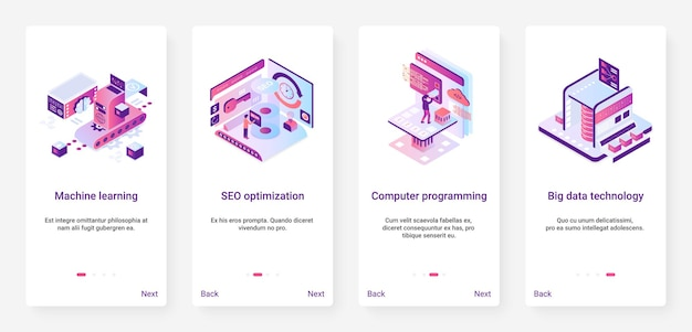 Machine learning, programming code data technology ux, ui mobile app page screen set