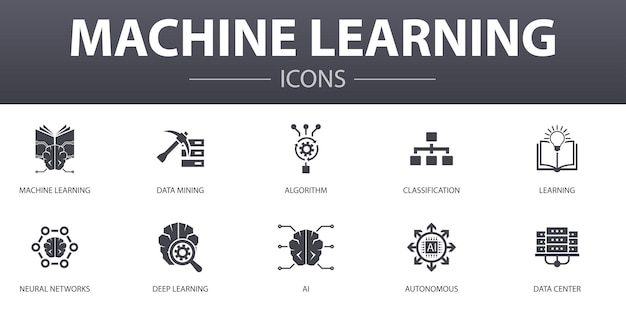 Machine learning simple concept icons set. contains such icons as data mining, algorithm, classification, ai and more, can be used for web, logo, ui/ux