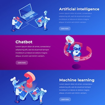 Machine learning, software application, ai website steps vector layout.