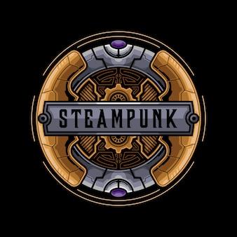 Machine steampunk badge design