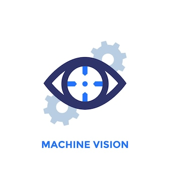 Machine vision icon with gears