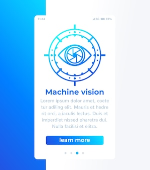 Machine vision mobile banner with icon