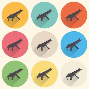 Иллюстрация значка пулемета. креативный и ретро-образ