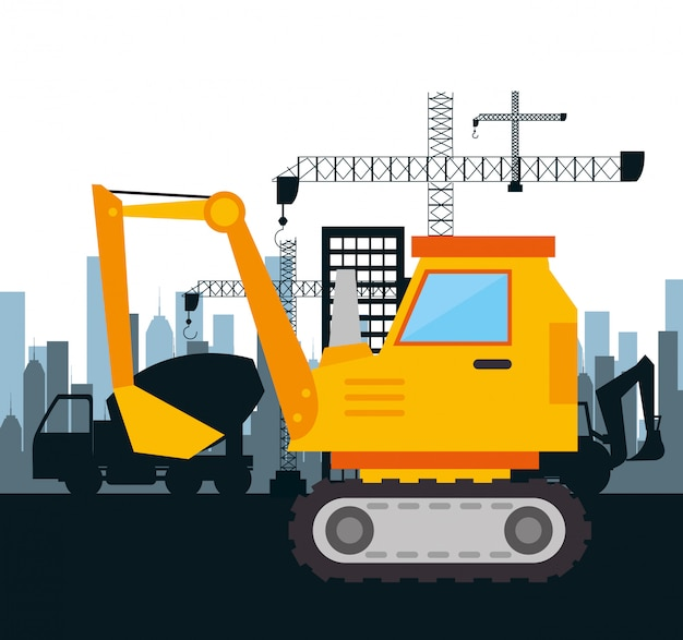 Machinery construction design isolated