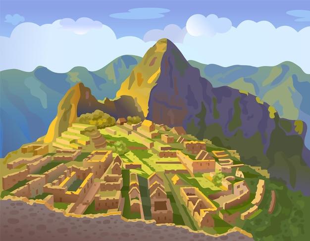 Мачу-пикчу в перу историческая достопримечательность иллюстрации