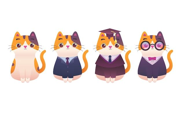 かわいい愛らしいキティ猫プロフェッショナルワーカーmacotモダンなフラットイラストキャラクター、オフィスワーカー、上司、弁護士、卒業、大学、良い男の子、ヒップスター