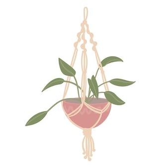 Макраме бохо декор с цветком в горшке
