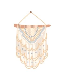 마크라메 디자인 평면 벡터 일러스트 레이 션. 실 프린지, 파스텔 색상 코드 및 구슬이 있는 벽걸이 장식. 흰색 배경에 분리된 레이스 직조가 있는 수제 매듭 공예 장식입니다.
