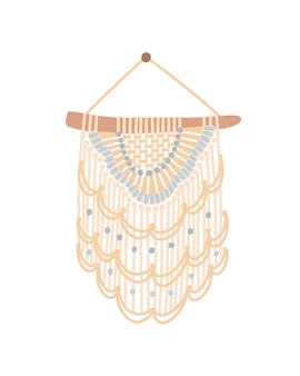 Macrame design flat vector illustration. wall hanging decoration with thread fringe, pastel colors cord and beads. handmade knot craft decor with lace weaving isolated on white background.