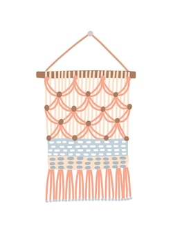 Macrame design, wall hanging decoration with thread fringe vector illustration. combinations of half hitches. boho, ethnic handmade knot craft home decor isolated on white background.