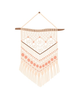 Macrame modern design vector illustration. wall hanging decoration with thread fringe, cord and beads. handmade knot craft with geometric pattern isolated on white background. wickerwork home decor.