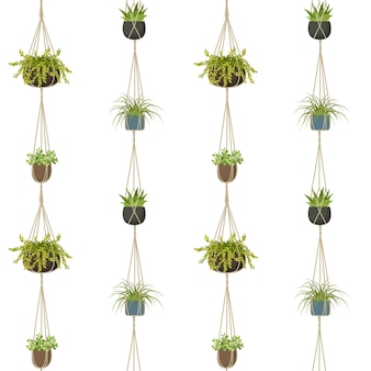 Macrame plant seamless pattern vector illustration isolated on white background