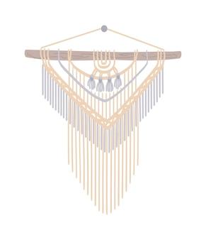 Macrame with fringe in boho style