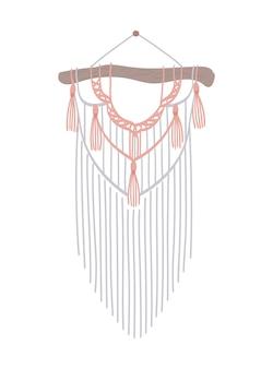 Macrame with fringe boho style