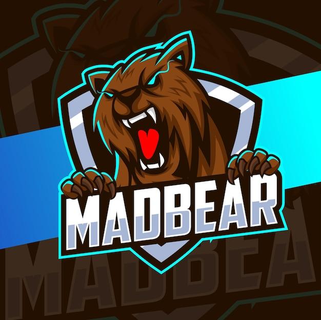 ゲームとスポーツのロゴのためのマッドベアマスコットeスポーツロゴデザイン