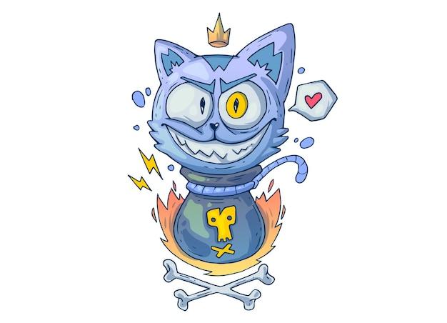袋の中の狂った猫。創造的な漫画のイラスト。