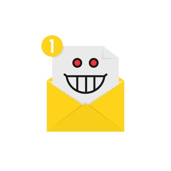Mad emoji in yellow letter notification. concept of spam, receive e-mail, loony, postal card, facial, dumb, lunatic mood, communication. flat style trend modern logo graphic design on white background