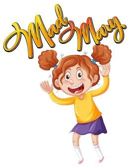 Disegno del testo del logo mad mary con un personaggio dei cartoni animati di una ragazza
