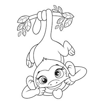 尾にぶら下がっている狂った猿と顔を着色ページ概要漫画ベクトルイラスト
