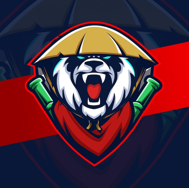 Mad panda mascot esport logo design