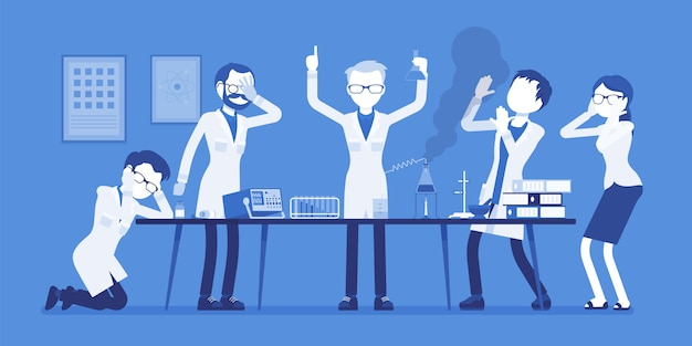 Mad scientist failed chemical experiments. male and female experts of physical or natural laboratory and crazy professor. science and technology concept.  illustration with faceless characters