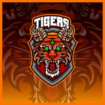 Безумные тигры, киберспорт и спортивный дизайн логотипа талисмана с современной концепцией иллюстрации для эмблемы значка команды и печати футболки, иллюстрация безумных адских тигров на изолированном цвете фона в мультяшном стиле
