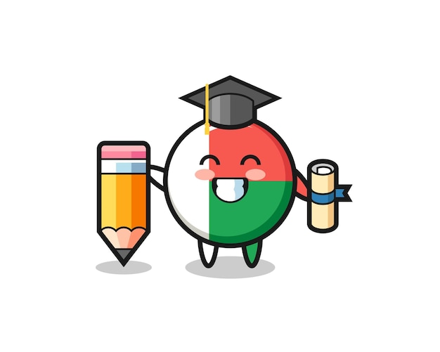 Madagascar flag badge illustration cartoon is graduation with a giant pencil , cute design