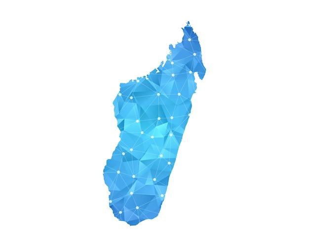 マダガスカルの地図の線の点は多角形の抽象的な幾何学的です。