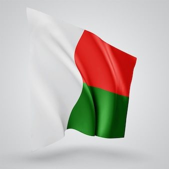Madagascar, vector flag with waves and bends waving in the wind on a white background.