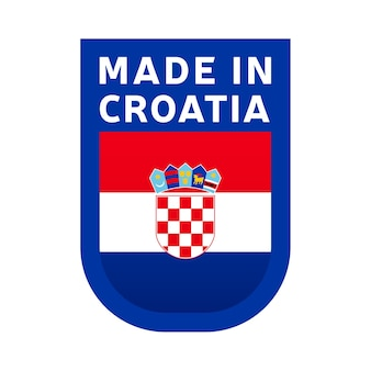 Made in croatia icon. national country flag stamp sticker. vector illustration simple icon with flag