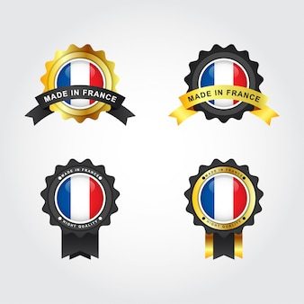 Made in france emblem badge labels illustration template dsign